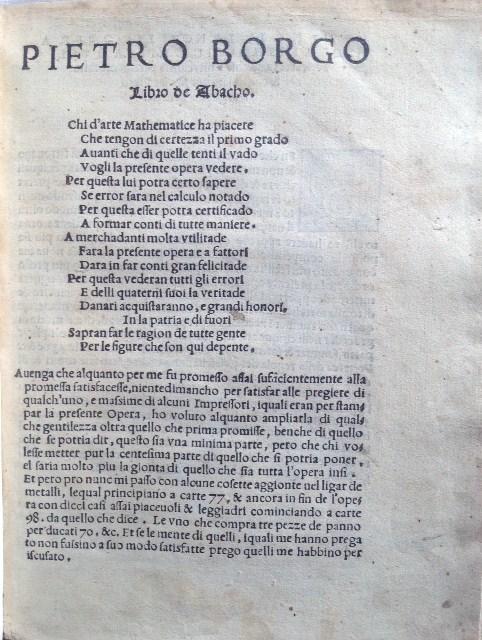 Pietro Borgo. Libro de Abacho 1540