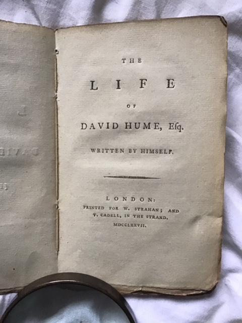 David Hume - The Life of David Hume Esq. Written by Himself. London, W.Strahan and T.Cadell 1777