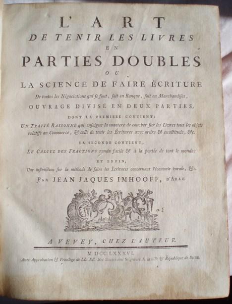 Jean Jaques IMHOOFF. L'Art de Tenir les Livres. Vevey 1786