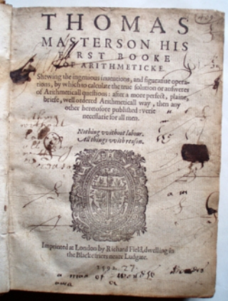 Thomas Masterson. Arithmeticke 1592-1595 First edition