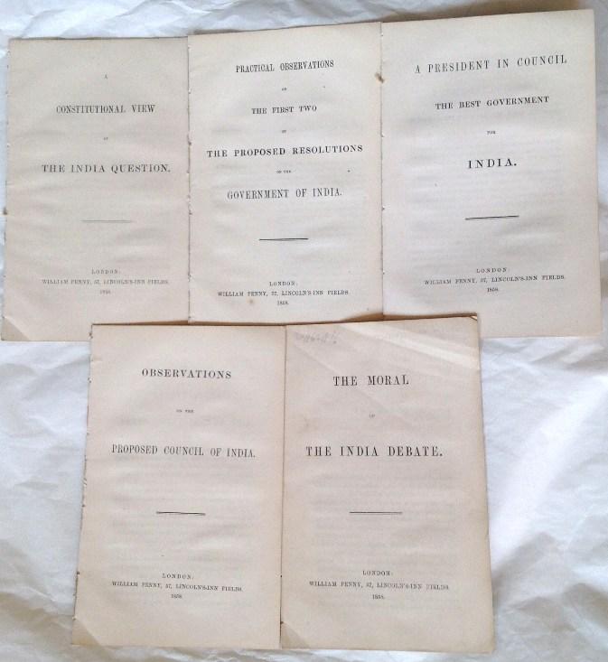 John Stuart Mill. India Pamphlets 1858