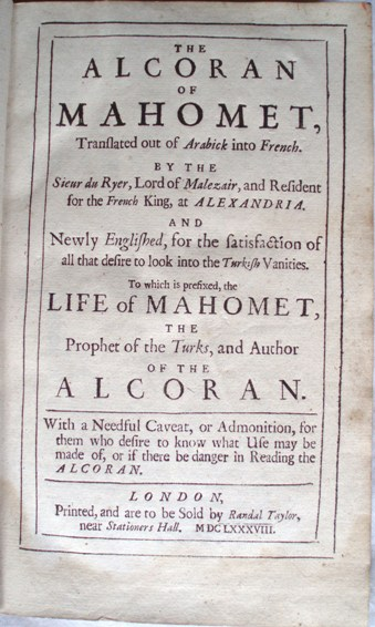 Qur'an. The Alcoran of Mahomet. London 1688