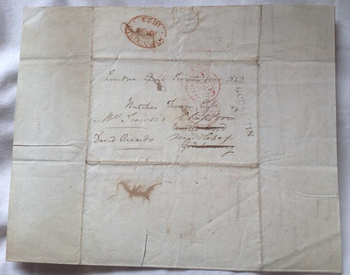 David Ricardo. Autograph Letter to Hutches Trower 1823