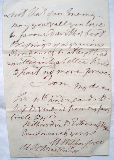 William Wilberforce - Unpublished autograph letter to R H Marten