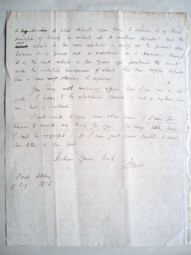 James Mill - Autograph letter signed to Josiah Conder. 1816