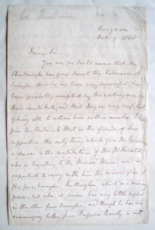 John Stuart Mill. Autograph letter signed to Edmond Beales. 1868