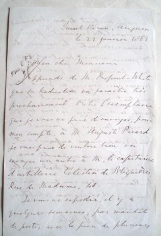 John Stuart Mill - Autograph letter signed to Gilbert Urbain Guillaumin. 1862
