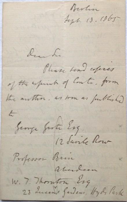 John Stuart Mill. Autograph letter signed to John Nicolaus Trübner 1865